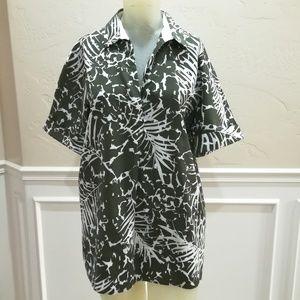 Lafayette 148 green palm print blouse
